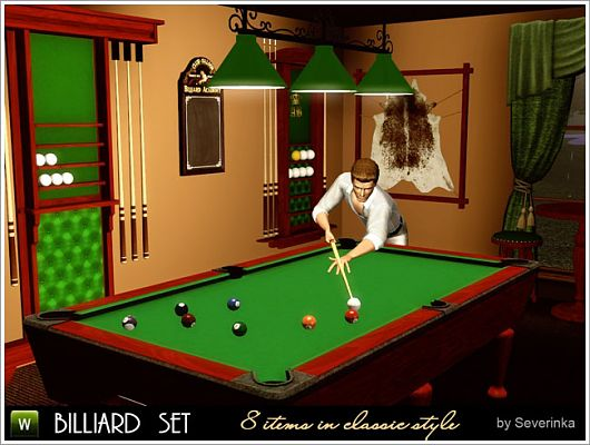 Sims 3 billiard, set, game