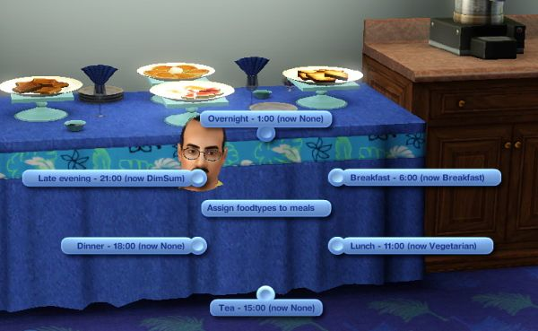 Sims 3 buffet, food