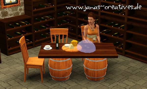 Sims 3 table, celar, wine