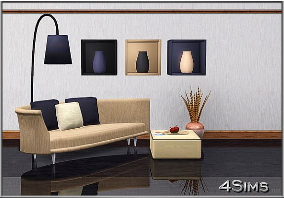 Sims 3 wall, decor, vases, boxes, furniture, light, lamp