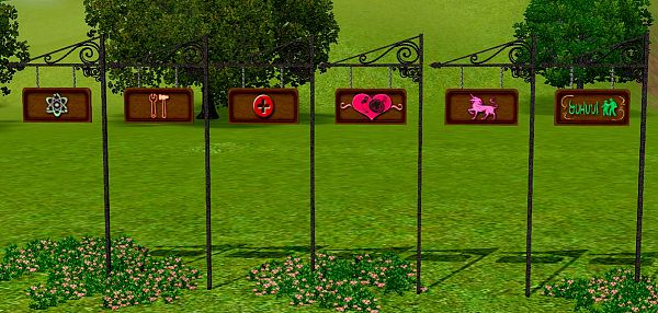 Sims 3 sign, outdoor, decor