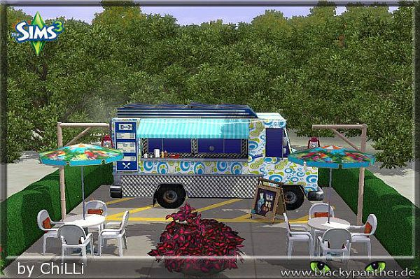 Sims 3 lot, community, snack