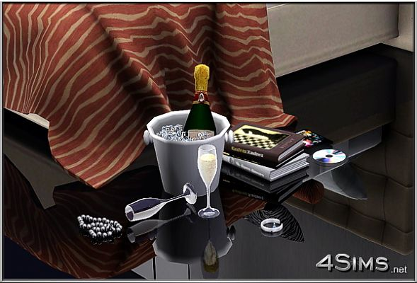 Sims 3 champagne, set, objects, decor, bottle, glasses, ice bucket