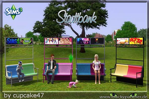 Sims 3 bench, object, outdoor