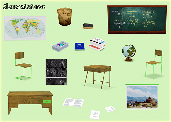 Sims 3 decor, objects, furniture, study