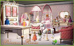 Sims 3 bedroom, kids, princess, dolls, carousel, horse