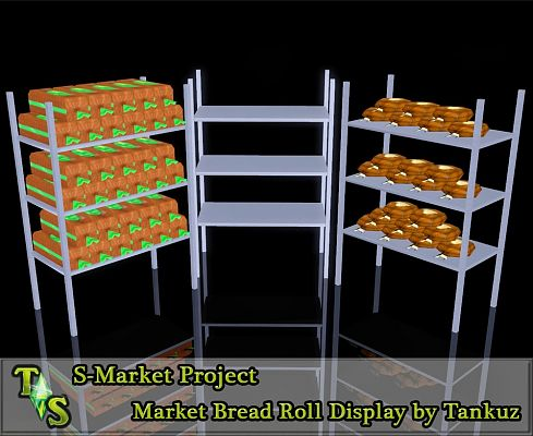 Sims 3 stand, shelves, market, bread