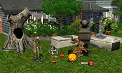 Sims 3 skeleton, lantern, snake, genie lamp, hollow tree, gargoyle, creepy statue, sarcophagus, jackalope,