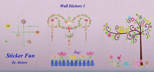 Sims 3 stickers, decor, objects
