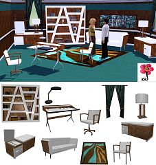 Sims 3 office, study, furniture