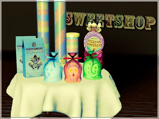 Sims 3 sweetshop, decor, sims3
