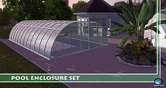 Sims 3 glass, frame, pool, garden, garage