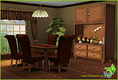 Sims 3 dining room, chair, table, buffet, flower, pot, furniture