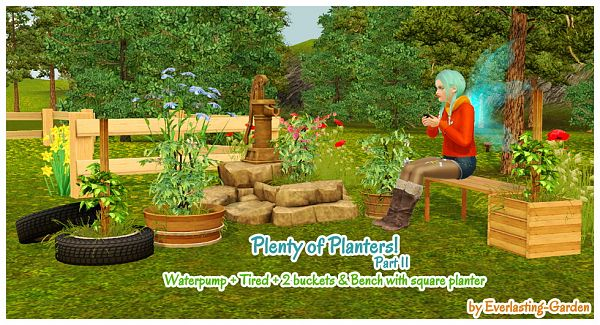 Sims 3 planters, bench, outdoor