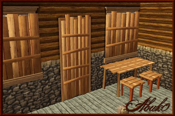 Sims 3 shutters, curtains, decor, objects, wood