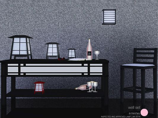 Sims 3 light, lamp, asian, furniture