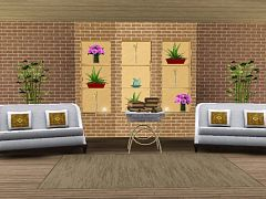 Sims 3 wall, brick, shelf