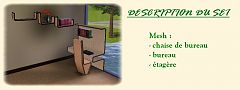 Sims 3 office chair, desk, shelf