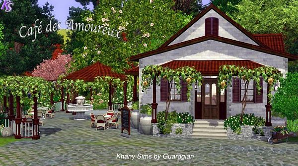 Sims 3 coffee shop, lot, community