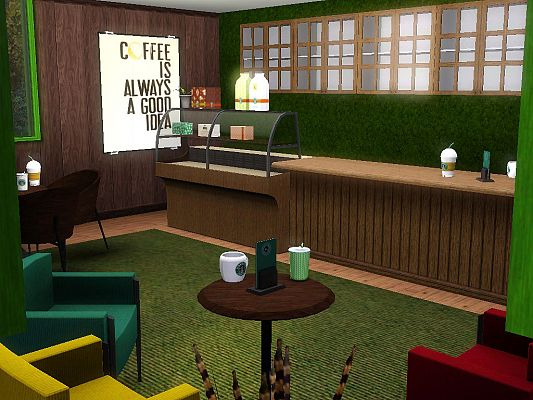 Sims 3 lot, community, coffee shop, sims3