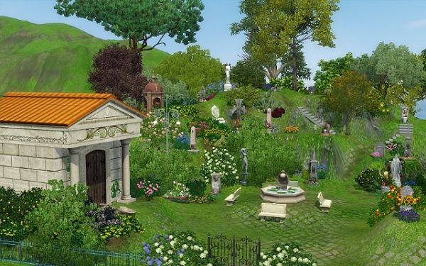 Sims 3 lot, community, cemetery