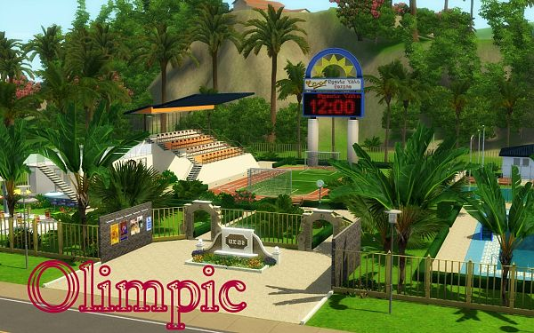 Sims 3 lot, community, stadium olimpic, sims3