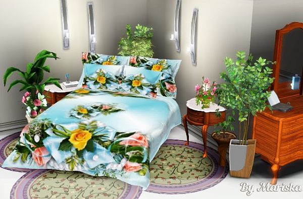 Sims 3 set, decor, covering, bed
