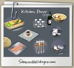 Sims 3 kitchen, decor, bread, cofee, cookies, pots, pan, toaster, veggies, wine tray