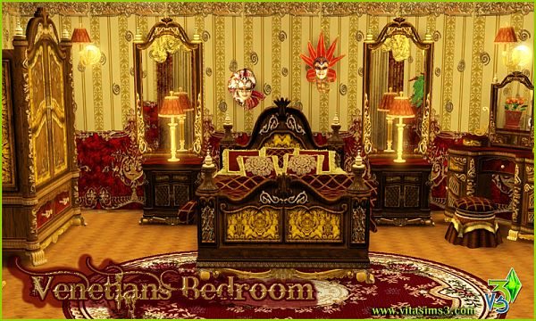 Sims 3 bedroom, venetian, furniture, objects
