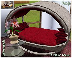Sims 3 bedroom, bed, table, plant
