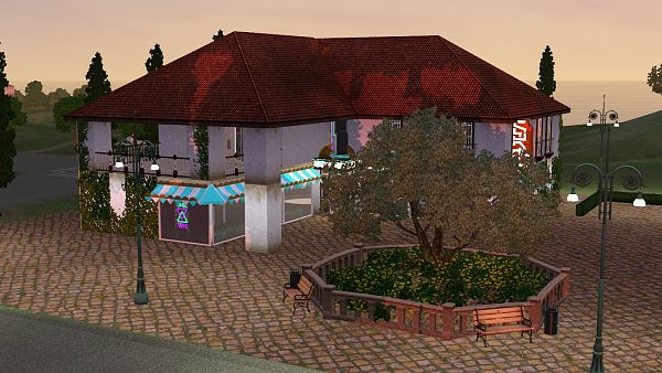 Sims 3 lot, community, bar