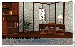 Sims 3 desk, chair, chinese