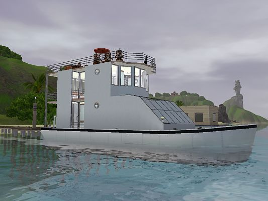 Sims 3 house, lot, residential, yacht, houseboat