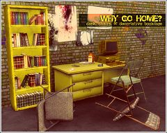 Sims 3 office, grunge, theme, desk, chair, books