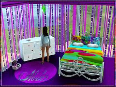Sims 3 bedroom, furniture, bed, dresser, curtains, pillow, blanket