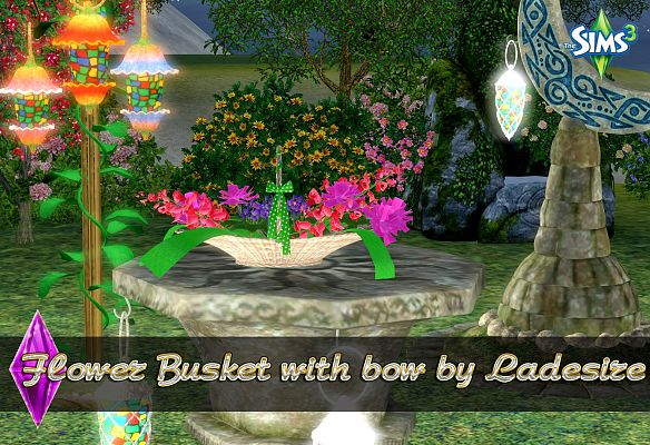 Sims 3 basket, flowers, bow