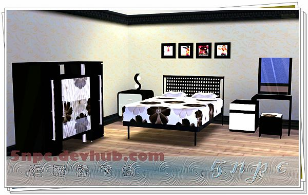 Sims 3 bed, bedside tables, makeup table, mirror, wardrobe, lamps, painting, stool
