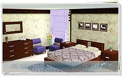 Sims 3 bed, bedside cabinets, wardrobe, chair of life