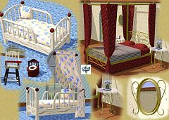 Sims 3 bedroom, bed, endtable, mirror