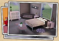 Sims 3 stool, office chair, dresser, bed, coffee table, iPod, rug