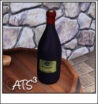 Sims 3 bottle, bottle in box, glass, corkscrew, taster, bottles rack