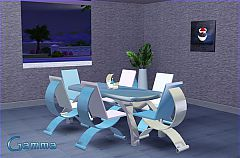 Sims 3 set, chair, table, candle, paint, dinning, furniture