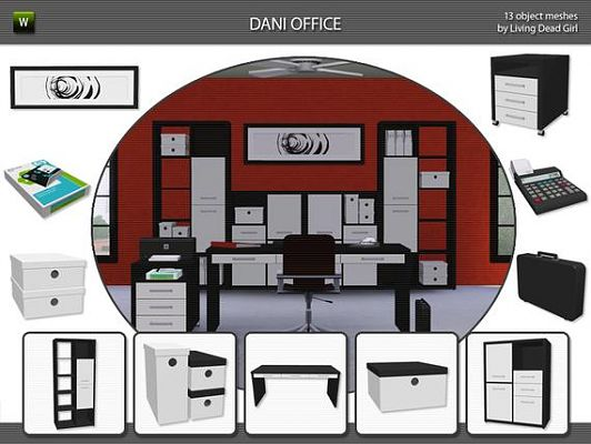 Sims 3 object, objects, study, office, set