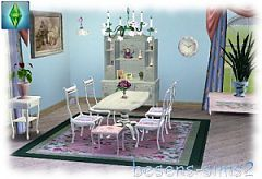 Sims 3 dining table, stool, chair, hanging lamp, vitrine, wall clock