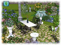 Sims 3 patoi, flowers, dining table, chair