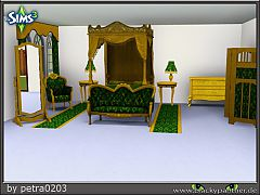 Sims 3 bed, nightstand, table lamp, table, curtains, chairs, couch, wardrobe, mirrors