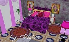 Sims 3 bedroom, romantic, violet, furniture
