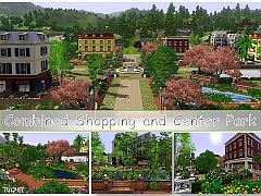 Sims 3 grocerstore, bookstore, restaurants, water channels, various plants, public modern toilets, bathroom
