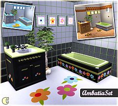Sims 3 wall sticker, counter, tub, painting, beehive pattern, rug