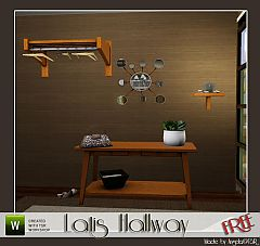 Sims 3 sidetable, bag, shoes, mirror, coatrack and tableplant